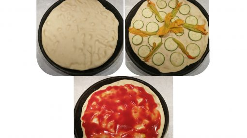 foto pizza base lievitata in teglia, base bianca e base rossa